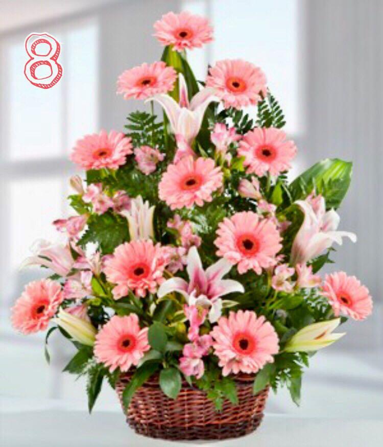 Arreglo Floral 14 De Febrero Hierberas Y Lirios